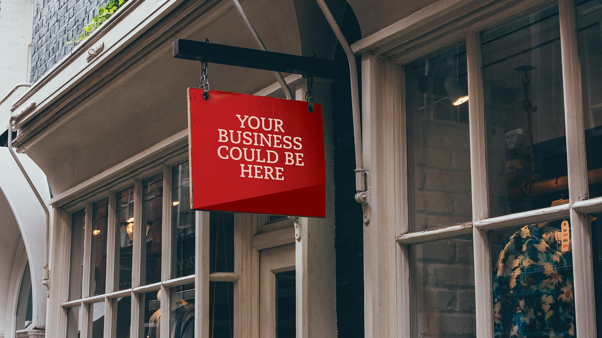 Sign on storefront