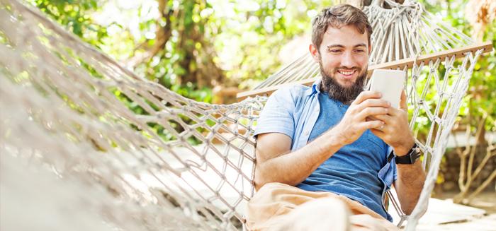 man on hammock opening bank account