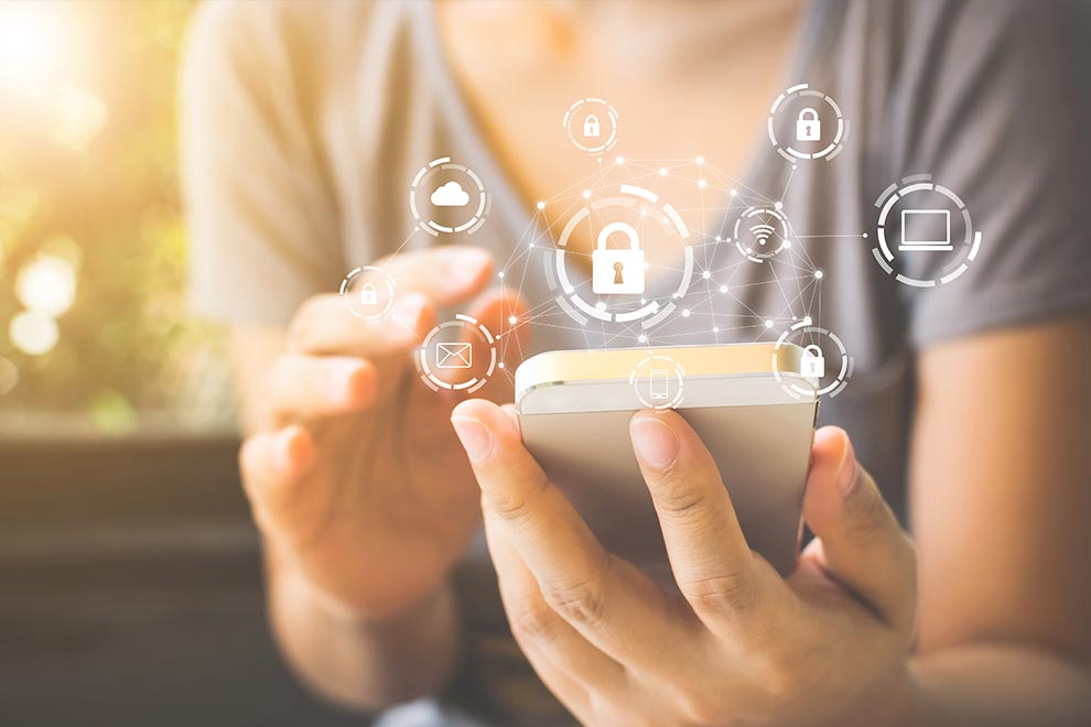 Cybersecurity web around mobile device