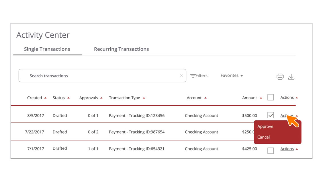 Approving/Canceling Payments